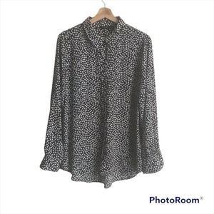 Apt.9 Black White Speckled Dot Button Up Top